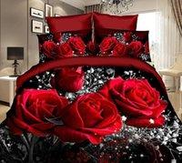 kırmızı gül kral yorgan seti toptan satış-Nevresim Takımı, 3D Yağlıboya Resim Çanta içinde 3 adet Yatak Takımları Kraliçe kırmızı gül Yorgan Çanta Nevresim