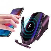 ingrosso porta lg-R2 Smart Wireless Car Charger Vent infrarossi induzione Phone Holder 10W di ricarica rapida della clip per Samsung Huawei