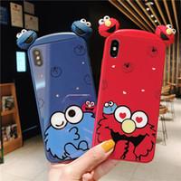 borda azul do telefone celular venda por atacado-Para iphone xs max xr phone case sesame street azul vermelho 6 7 8 x plus vidro temperado borda macia casos de telefone celular