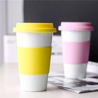 Wholesale anti mug for sale - Group buy Ceramic Cup Silicone anti ironing Mugs Home Car Ceramic Cups With Lids Coffee Milk Tea Drinkware Water Bottles GGA2690
