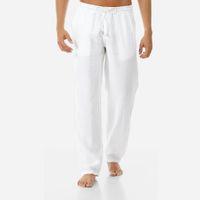 Mens Plain Cotton Linen Pants Summer Elastic Waist Straight Leg Casual Trousers