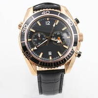 Wholesale good mens watches for sale - Group buy Luxury Rose Gold Watch Stainles Steel Case Good Time Quartz Chronograph Stopwatch Watches Black Dial Good Leather Strap Mens Wristwatches