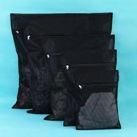 bolsas de sujetador negro al por mayor-Nuevo 1PC Ropa Lavadora Bolsa de lavandería con cremallera Nylon Mesh Net Bra Bolsa de lavado 5 tamaños Bolsas de lavado negras