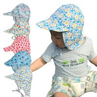 Wholesale baby boy winter cap designs resale online - New design Baby Boys Girls Caps Sun Protection Swim Hat floral Children Sunscreen Hat Outdoors Cap Anti UV Headwear Baby solid Sunhats C6652