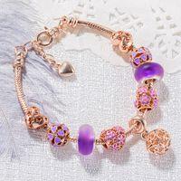 Wholesale rhinestones beads wheel for sale - Group buy Romantic Exquisite Bracelets Golden Color Crystal Rhinestone Beads Robot Ferris Wheel Heart Purple Beads Bracelets With Free Bag