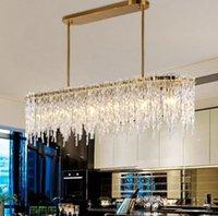 sala de estar iluminação retangular venda por atacado-Ouro luxuoso design retangular Lustres AC110V-220V vidro claro LED luminária Dinning Room Living Room luzes de suspensão aparelho de iluminação