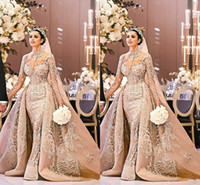 Wholesale gorgeous wedding dresses for sale - Group buy Arabic Dubai Long Sleeve Wedding Dress Gorgeous High Neck Mermaid Lace Appliques Detachable Train Bridal Gown vestido de noiva