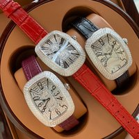 Wholesale leather watch red face for sale - Group buy Hot seling GALET Luxury diamonds face dial Ladies watches fashion leather womens Watches A best quality quartz watches