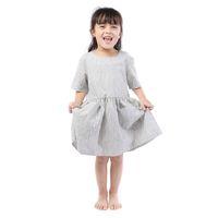 qualität kleine mädchen kleidung großhandel-Hochwertige Kinder Freizeitkleidung kurzen Ärmeln Kleid für kleine Mädchen Großhandel Baby Kleidung Baumwolle geschnallt Kleid