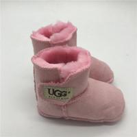 bebekler için çizmeler toptan satış-Bebek Botları Erkek ve Kız Çocukları İçin Kış Ayakkabı Bebekler İçin İlk Walkers Bebekler İçin Düz Renk Çizmeler
