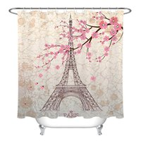 Wholesale accessories eiffel for sale - Group buy Paris eiffel tower pink cherry blossom shower curtain bathroom Durable Fabric Mildew Bathroom Accessories Creative with Hooks X180CM