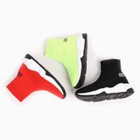 sacs de sport de football achat en gros de-Enfant chaussure fille garçon glisser sur les chaussures chaussette botte chaussure enfants courir baskets sport mode bottes de football EU 24-35 envoyer avec boîte et sac à poussière