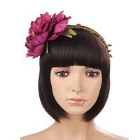 accesorio para el cabello peonía flor al por mayor-2019 Nueva Rich Peony Flor Tiaras Tira Festival de Niñas Guirnaldas Mujeres Coronas Románticas para Accesorios de Pelo Nupcial