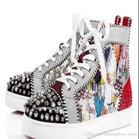 ingrosso stivali donna stivali-christian louboutin red bottoms Fashion donna mens luxury designer sneakers shoes Stampa Silver Pik Pik No Limit RARI borchie strass graffiti boots