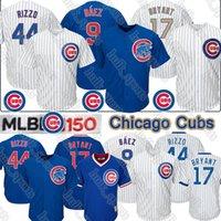 ingrosso baseball top uomini-9 Javier Baez Chicago Cubs Jersey 17 Kris Bryant 44 Anthony Rizzo 150 ° anniversario 2019 degli uomini superiori di baseball Maglie