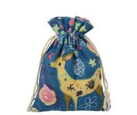 ingrosso sacchetti di panno fatti a mano-Sacchetti regalo di lino10cmx14cm (3.9