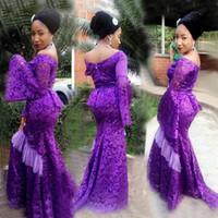 ingrosso il vestito da prom danno i manicotti online-2019 Abito da sera a maniche lunghe in pizzo poeta Abito da sera a sirena africana sottile Aso Ebi personalizzato Abiti da ballo da ballo sudafricano formale online