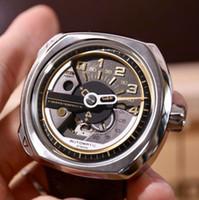 relojes de banda de madera al por mayor-Reloj de lujo REVOLUTION V2 / 01 47mm Reloj de pulsera NFC Banda de cuero Miyota 82S5 Movimiento Caja de madera JH