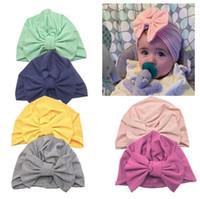 çocuklar şapkayı bağlar toptan satış-5 Tasarımlar Yeni Sıcak Bebek Türban Yürüyor Çocuk Boy Kız Hindistan şapka Güzel 18 cm Yumuşak Şapka İlkbahar Yaz Sonbahar Yaz Şapka yay bağları Elastik ...