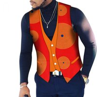 fdcb609d51 Custom Mens Top Clothing Bazin Riche Patchwork Print Top Vest 100% Cotton  Dashiki Traditional African Clothing WYN107