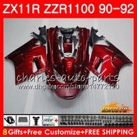 91 kawasaki ninja zx 11 großhandel-Gehäuse für KAWASAKI NINJA ZX-11R ZZR 1100 ZX11R 90 91 92 30HC.0 ZZR1100 ZX11R ZZR-1100 ZX-11R ZX 11R 1990 1991 1992 Verkleidung Rot-schwarze Flammen