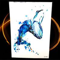 Wholesale whale sticker resale online - Blue Water Color Drawing Whale Tattoo For Women Henna Dolphin Fish Temporary Tattoo Sticker Waterproof Fake Arm Tatoo Stickers