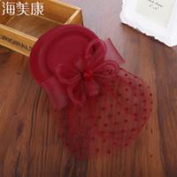 örtü klipsleri toptan satış-Haimeikang Büyüleyici Saç Klip Bandı Şapka Bowler Tüy Peçe Düğün Yeni Saç Klip