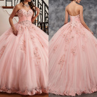 15 yaşında bir kız toptan satış-Kız 15 yaşında için Beadings 2020 Parti Elbise ile Brinkina Güzel Pembe Quinceanera Elbise Balo Sweetheart Dantel