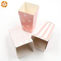 tasses de noël achat en gros de-Popcorn Box / Cup Pink Theme Party Décoration Pour les enfants Joyeux anniversaire Noël Fête De Mariage Fournitures De Douche De Bébé