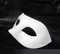 ingrosso maschere mezze mascherate in bianco-nuovo Halloween solido bianco mezza faccia fai da te maschera di zorro maschera di corrispondenza di carta bianca novità maschera di masquerade festa di halloween h61