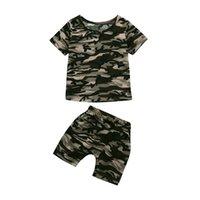 mädchen tarnen shorts großhandel-Freizeit Ropa Kleinkind Kinder Baby Jungen Mädchen Camouflage T-shirt Tops + Shorts Outfits Kleidung Set Abbigliamento Bambine