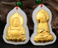 ingrosso collana fortunata del pendente della giada del buddha-Natural White Hetian Jade + 18K Solid Gold Lotus Buddha GuanYin Amulet Lucky Pendant + Free Collana Fine Jewelry
