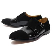 черные замшевые туфли мужчины оптовых-2019 Luxury Mens Dress Shoes Patent Leather and Suede Black Blue Wedding Party Formal Shoes Men's Monk Strap Business