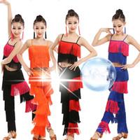 fransen quasten trimmen großhandel-Samba Quaste Latin Dancewear Kostüme Mädchen Salsa Ballsaal Fringe trimmen Tanz Tops + Pants Kostüm Erwachsene Gesellschaftstanz Kleid