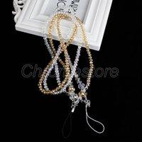 apfel iphone halsband großhandel-Freies Verschiffen Kristallperlen-Diamant-Hals-Abzugsleine hochwertige Handygurte, die tragbares Handyseil für iPhone Samsung hängen
