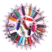 gül noktası toptan satış-Toptan 50 adet / grup Karışık Güller Kuvars Opal Doğal Taş Kolye Charms Altıgen Sivri Şifa Reiki 7 Çakra Sarkaç