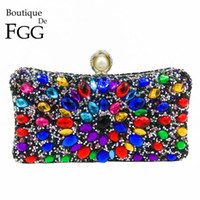 Wholesale pearl clutch gold for sale - Group buy Hot Fixed Multicolored Rhinestones Women Black Evening Clutch Bag Pearl Wedding Party Cocktail Crystal