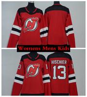 m branco venda por atacado-2019 Womens Nova Jersey Devils Ladies Hockey Jersey Em Branco 13 Nico Hischier Crianças Juventude Mens Casa Barato Vermelho Costurado Jersey