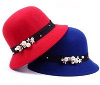 frauen winter hüte perlen großhandel-Legant Frauen Runde Melone Fedoras Baumwolle Cloche Eimer Hut Perle Winter Warme Perlenkappen Dame Frauen