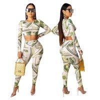 полный зеленый костюм оптовых-2019 New Africa женщины набор O-образный вырез Top Леггинсы Брюки Костюм доллара Печать Полного Рукав Два Piece Set Green костюмы Эпикировка Club SPORTWEAR