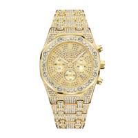 luxus gold diamant uhren männer großhandel-Gold Herren Luxusuhr Royal Oak Offshore Alle Subdial Work Diamond Wacth Iced Out Uhren Edelstahl Herren Quarzwerk Chronograph