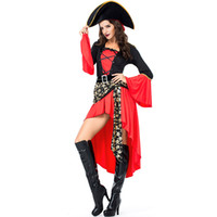 Wholesale women warriors costumes resale online - Sexy Women Pirate cosplay Costume lady Halloween Fancy Party Dress Adult Warrior Carnival Performance outfit Cosplay Costumes