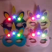 mavi yarı yüz maskesi toptan satış-Unicorn Kostüm Partisi Neon Maskeleri Dokuma Olmayan Kumaşlar Maske Mavi Pembe Doğum Günü Moda Yarım Yüz Aydınlık Yüz Parçası 2 5hbD1
