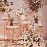kek kek toptan satış-Düğün Demir sanat tatlı masa beş parçalı silindirik tatlı masa açık Yapay çiçek düğün prop dekorasyon kek standı