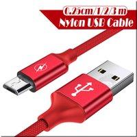 cm iphone оптовых-Металлический корпус Плетеный кабель Micro USB 2a прочный высокоскоростной зарядный кабель USB Type C для Android Smart Phone 0.25 cm 1m 2m 3m