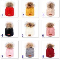 короткие манжеты оптовых-9 цветов женщин Зимняя шапочка Hat теплый флис Выровняно Трикотажное Chunky Soft Ski манжета Cap с Pom Pom Xmas Party Hats HH9-2431