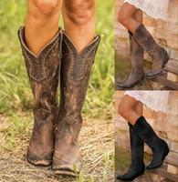 botas occidentales de calidad al por mayor-Bota de vaquero de lujo Martin botas de cuero de las mujeres de la buena calidad más barato de las mujeres de moda trabajo Botas occidental del tamaño grande US12