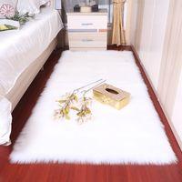 Wholesale acrylic floors resale online - Rectangle Soft fluffy Faux Sheepskin Fur Area Rugs nordic red center living room carpet Bedroom Floor White Faux Fur Bedside Rug