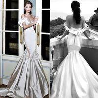 passen flare brautkleider groihandel-2020 weg von der Schulter-Nixe Sexy Brautkleider Backless Brautkleider Plus Size Arabisch FitFlare Kleid Saudi-Arabien