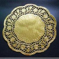 ingrosso carta in pizzo d'oro-All'ingrosso SS016035 6.5 '' Round Paper Lace Doilies oro Placemat Craft Doyleys Nozze da tavola decorazione di 50Pcs / Lot